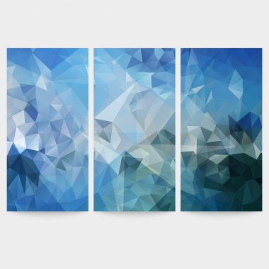 Set of blue abstract backgrounds, triangle design vector illustration
