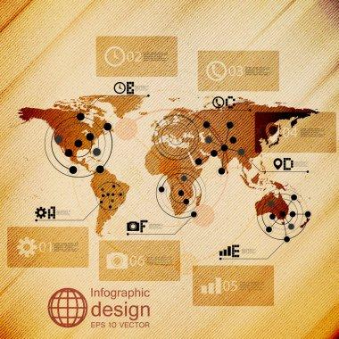 World map, infographic design illustration, wooden background vector