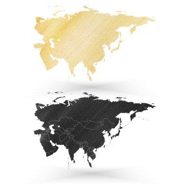 Eurasia map, wooden design texture, vector illustration
