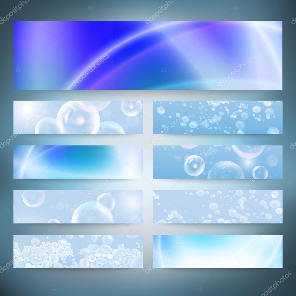 Set of horizontal banners. Drops in the blue water vector background
