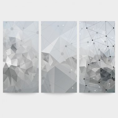 Set of abstract backgrounds, molecule structure, triangle design vector illustration