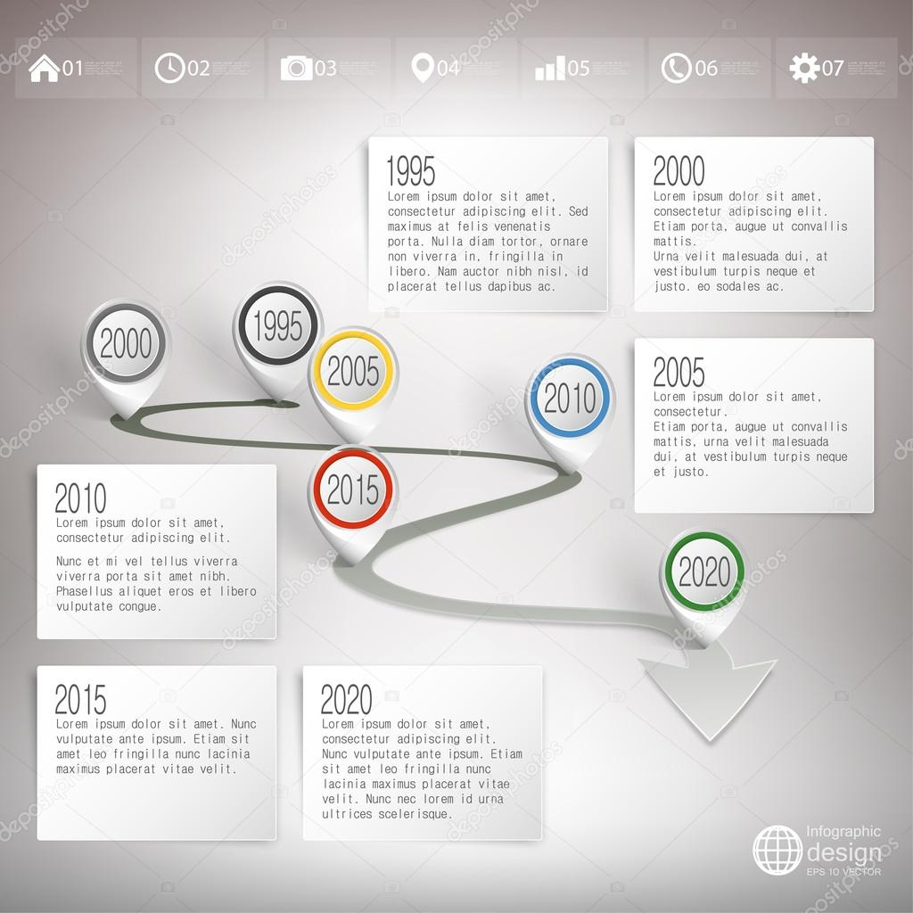 Timeline with pointer marks Infographic for business design and – Timeline Website Template