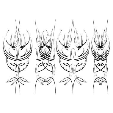 Pinstripe design, four black elements on white background