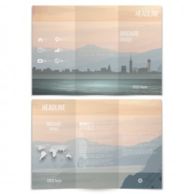 City and sea landscape. Brochure, tri-fold flyer or booklet for business. Modern trendy design vector templates on both sides