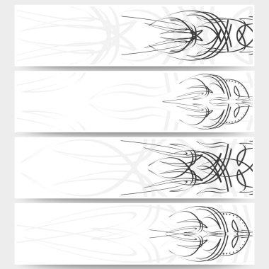Web banners set, pinstripe design header layout templates