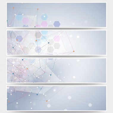 Web banners set, molecular design header layout templates. Molecule structure, blue background for communication, science vector illustration