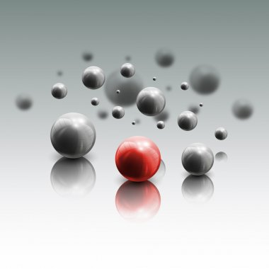 Spheres in motion on gray background, vector illustration