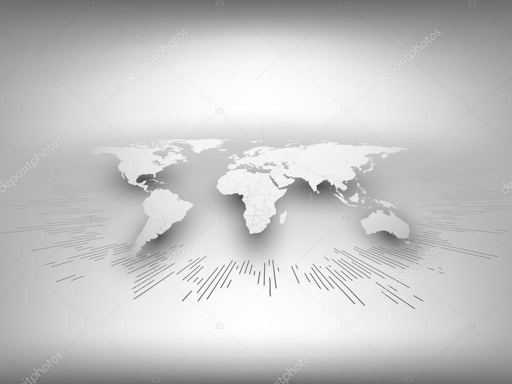 world map template in perspective on gray background for business or