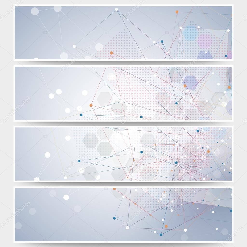 Web Banner Set, Molekulare Gestaltung Header Layout-Vorlagen ...