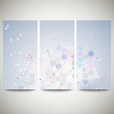 Abstract flyers set, molecular vector design. Molecule structure, blue background for communication, science illustration