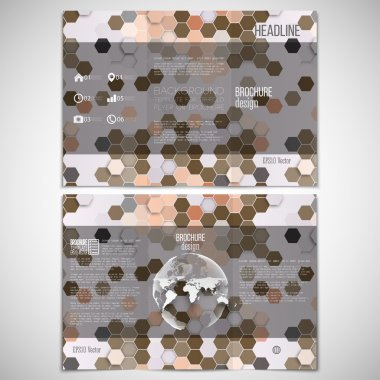 Vector set of tri-fold brochure design template on both sides with world globe element. Hexagonal modern stylish geometric brown background