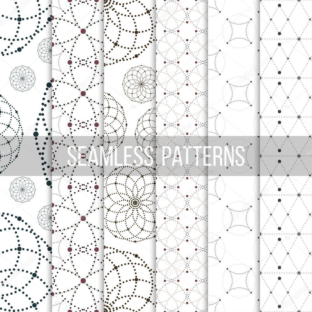 Puntos sin costura patrones con círculos y nodos. Repetición de ...
