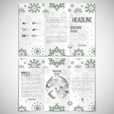 Vector set of tri-fold brochure design template on both sides with world globe element. Modern stylish abstract flowers, geometric background. Simple gray monochrome vector texture