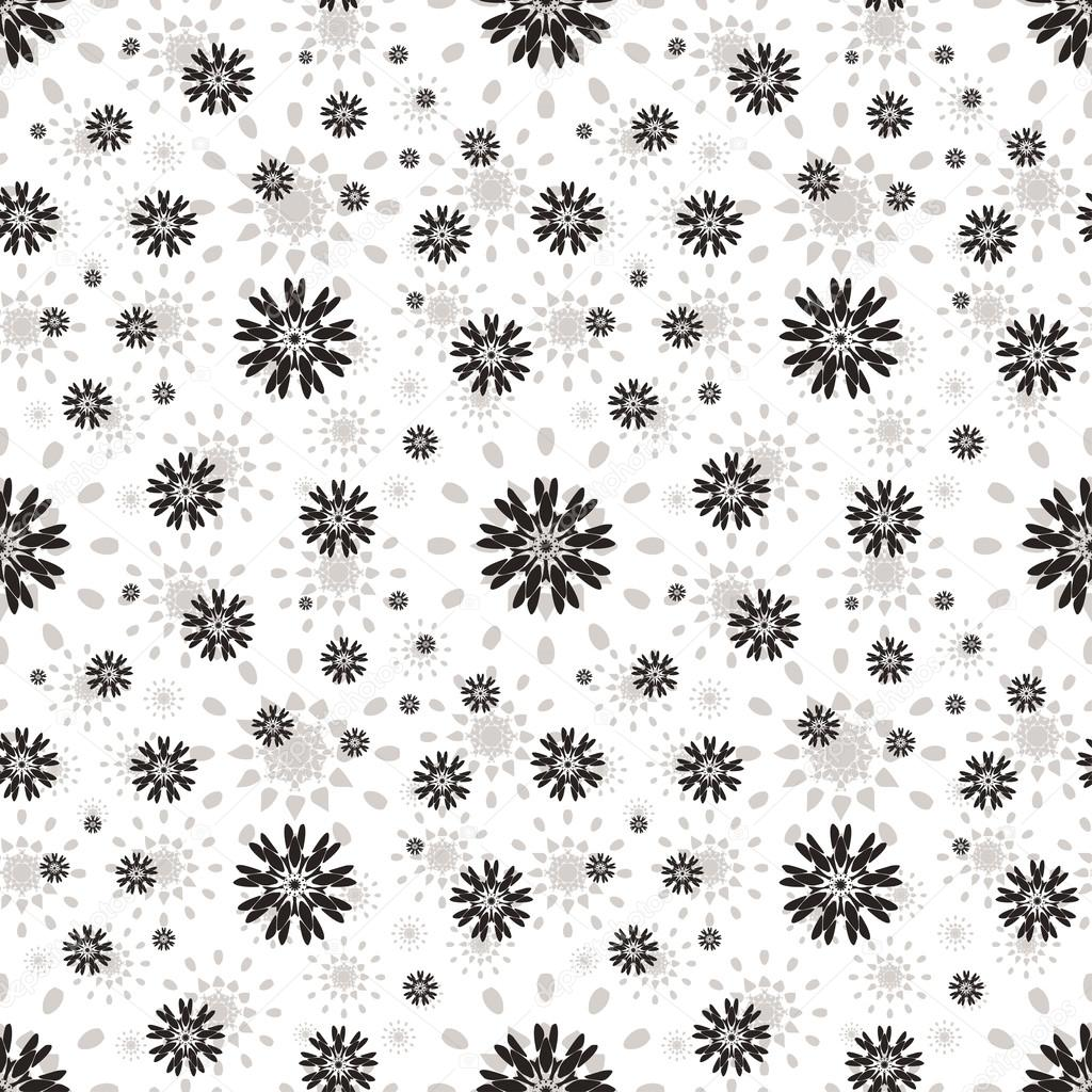 Seamless pattern with abstract flowers. Repeating modern stylish geometric background. Simple black monochrome vector texture