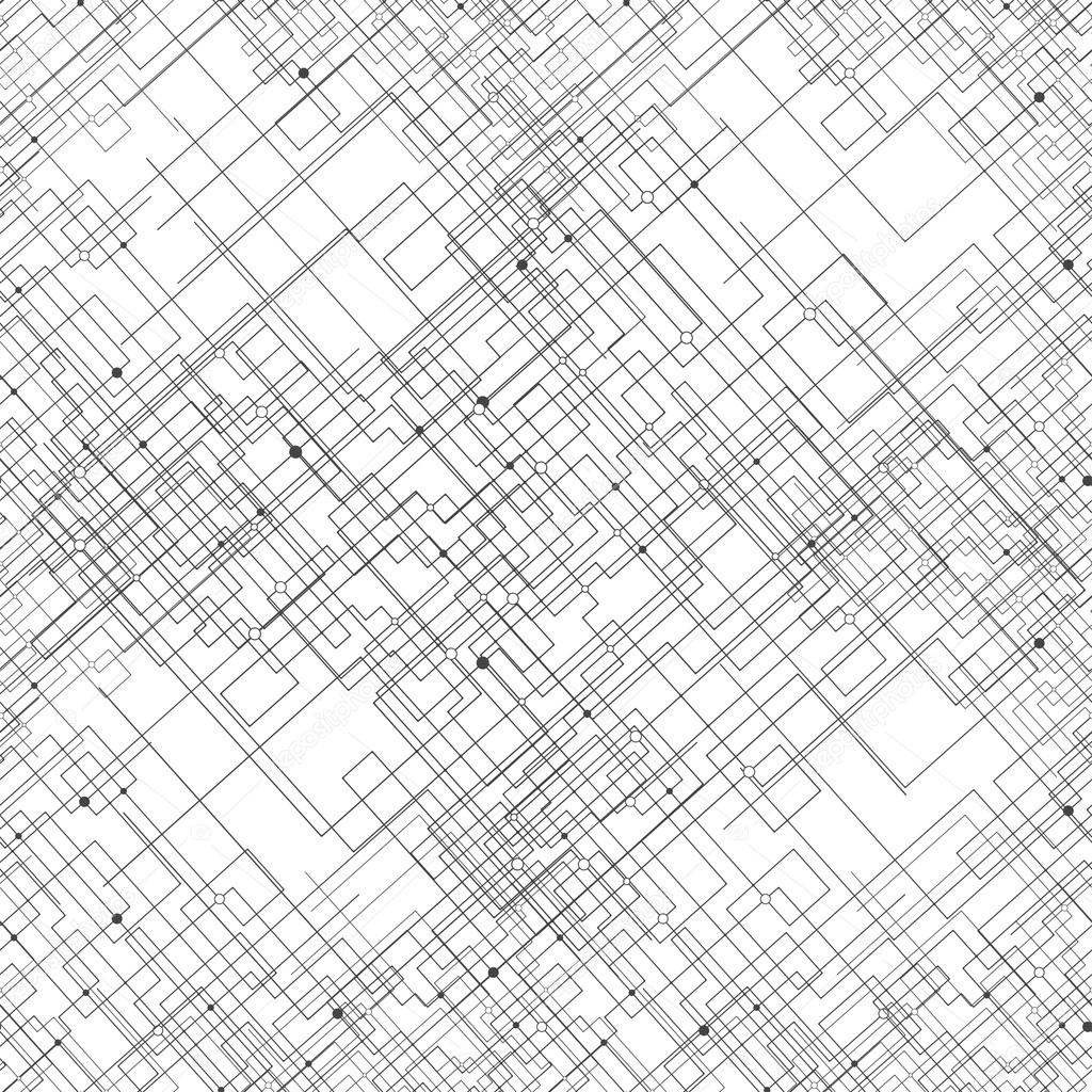 Seamless pattern with connected lines and dots. Repeating modern stylish geometric background. Simple black monochrome vector texture