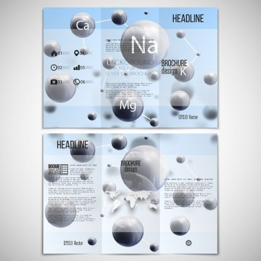 Vector set of tri-fold brochure design template on both sides with world globe element. Three dimensional glowing spheres, blue background. Abstract molecule metals. Scientific background