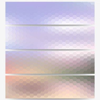 Abstract hexagonal headers set, blurred design vector