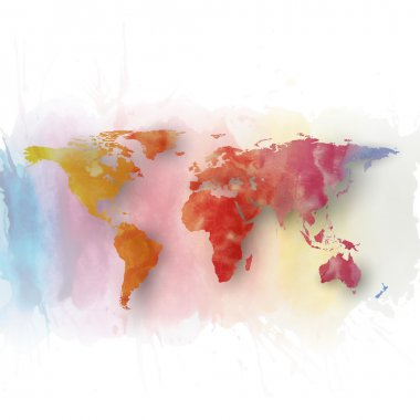 World map element, abstract hand drawn watercolor background, great composition for your design, vector illustration