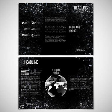 Vector set of tri-fold brochure design template on both sides with world globe element. Molecular white structure, black background. Business or science style, vector illustration