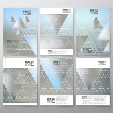 Triangular pattern with the reflection of environment on blurred background, minimalistic geometric triangle fractal. Brochure, flyer or report for vector business templates