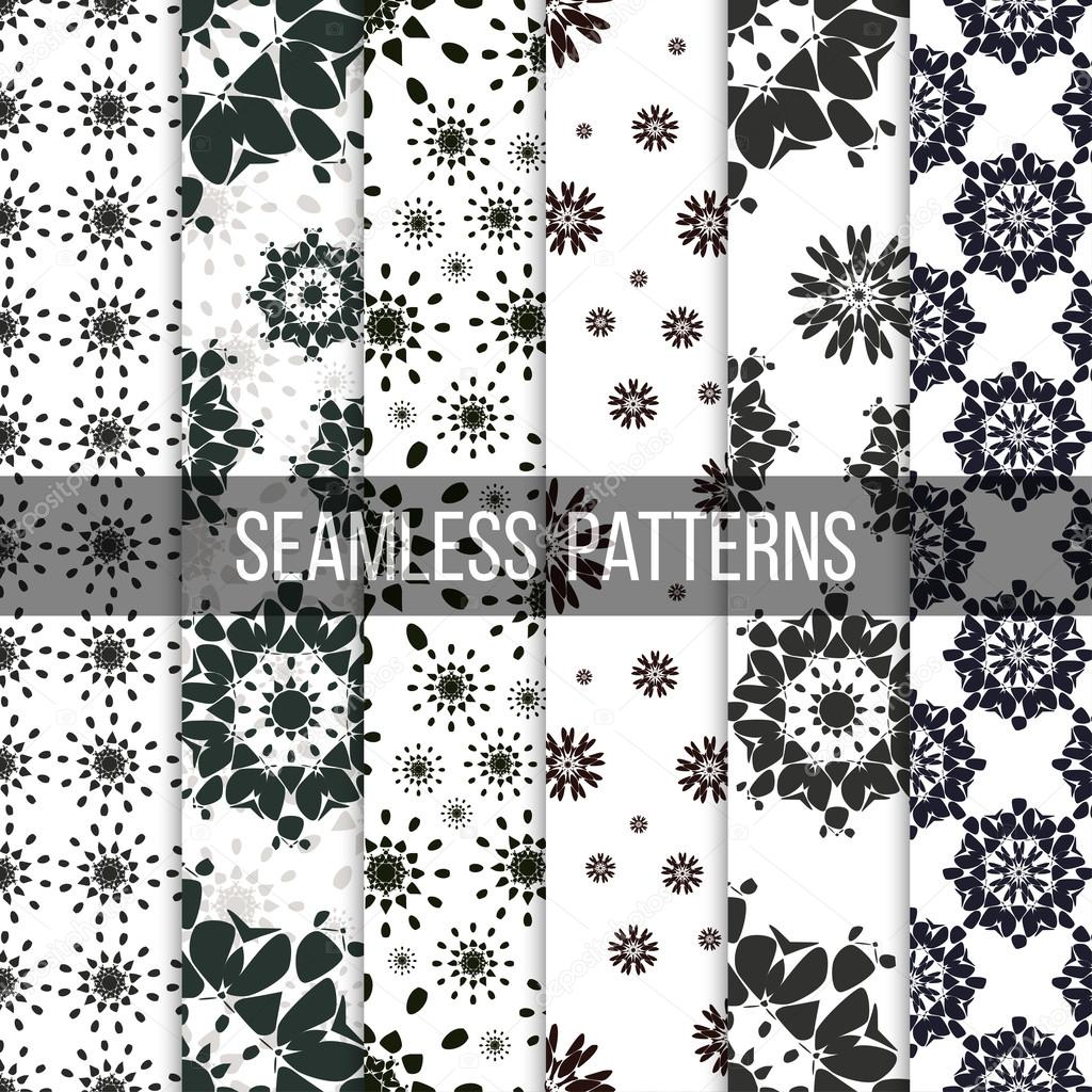Seamless patterns with abstract flowers. Repeating modern stylish geometric backgrounds. Simple black monochrome vector textures