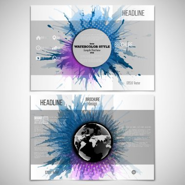 Vector set of tri-fold brochure design template on both sides with world globe element. Abstract circle banners, watercolor stains and vintage style star burst, vector illustration