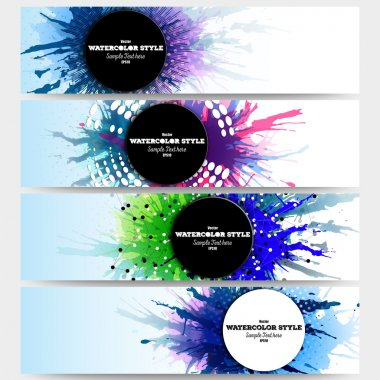 Web banners collection, abstract header layouts. Set of colorful headers with  watercolor stains and place for text, vector illustration templates