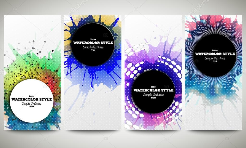 web banners collection abstract flyer layouts set of colorful
