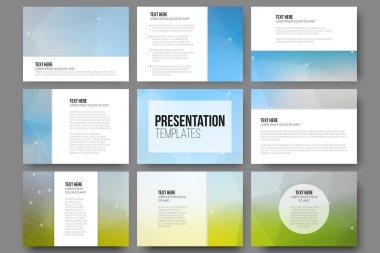 Set of 9 templates for presentation slides. Triangle design vector backgrounds