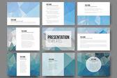 Fotografia Set di 9 modelli per diapositive della presentazione. Ambiti di provenienza blu astratti. Vettori di disegno del triangolo