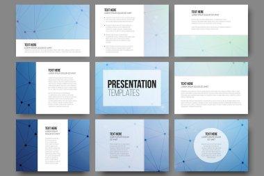 Set of 9 vector templates for presentation slides. Molecule structure blue background