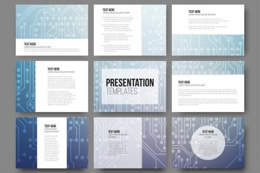 Set of 9 vector templates for presentation slides. Abstract microchip background, scientific electronic design