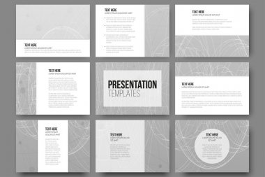 Set of 9 vector templates for presentation slides. Conceptual abstract scientific background, minimalistic design