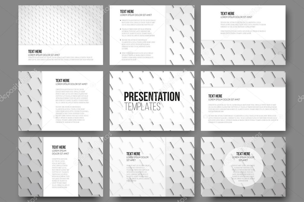 Set of 9 templates for presentation slides. Geometric gray ...