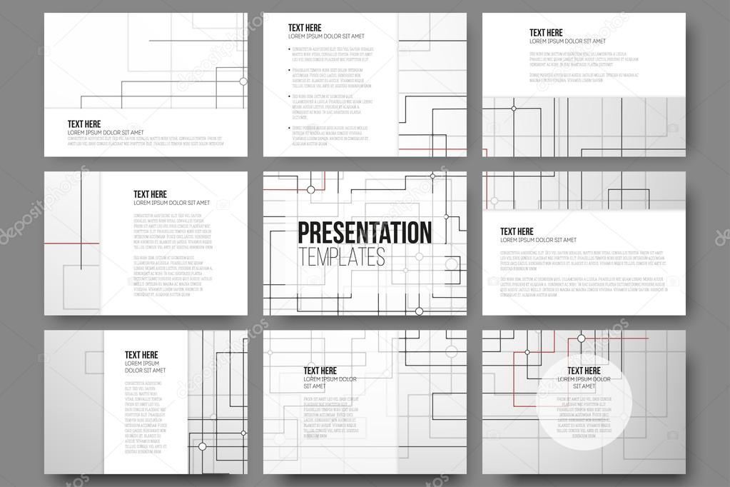 set of 9 templates for presentation slides abstract vector