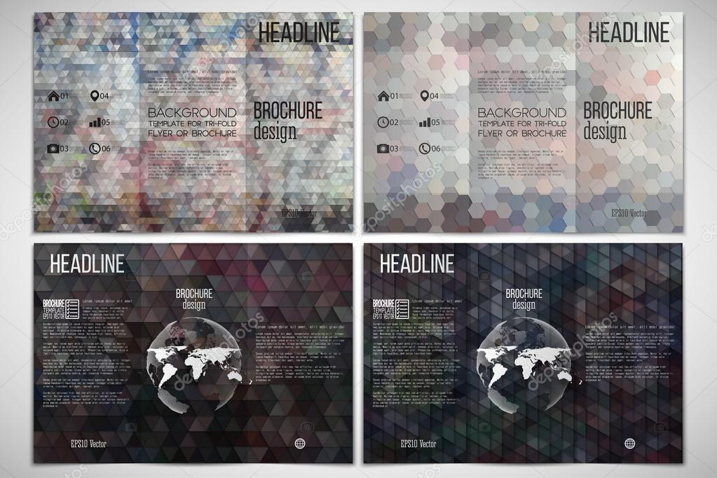 Vector set of tri fold brochure design template on both sides with vector set of tri fold brochure design template on both sides with world globe element graffiti wall abstract multicolored backgrounds maxwellsz