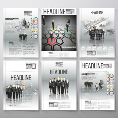 Business vector templates, brochure, flyer or booklet. Team standing over gray background with timeline and world map. Vector infographic templates for business design.