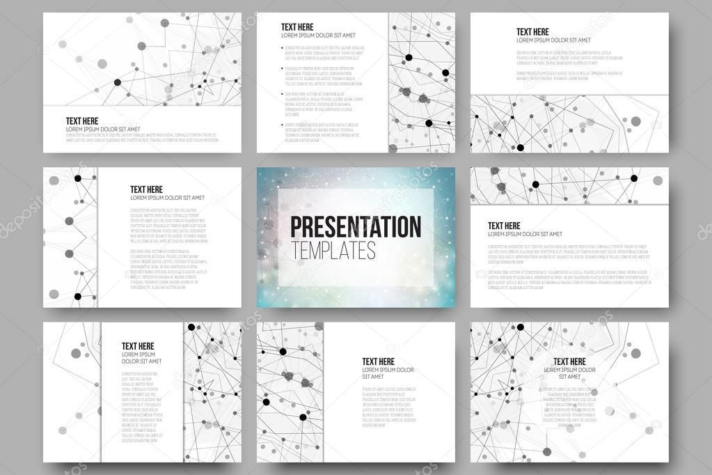 Set De 9 Plantillas Para Diapositivas De Presentación Fondo