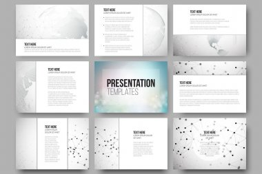 Set of 9 vector templates for presentation slides. Molecule structure, dotted world globe. Scientific graphic design