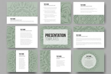 Set of 9 vector templates for presentation slides. Modern stylish geometric backgrounds, round ornamental shapes