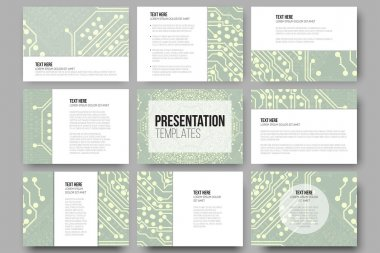 Set of 9 templates for presentation slides. Microchip backgrounds, electrical circuits backdrops. Business patterns, science vector design