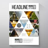Fotografie Business templates for brochure, flyer or booklet. Abstract multicolored background of nature landscapes, geometric vector, triangular style illustration