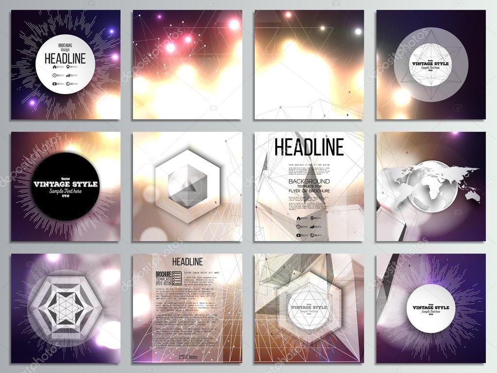 von 12 kreative Karten, quadratische Broschüre Template-Design ...