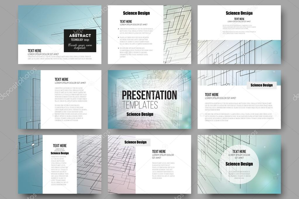 Set of 9 templates for presentation slides. Abstract vector ...