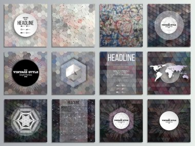 Set of 12 creative cards, square brochure template design. Graffiti wall. Abstract multicolored backgrounds. Geometrical patterns. Triangular and hexagonal style vector illustration