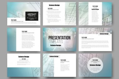 Set of 9 templates for presentation slides. Abstract vector background, digital technologies, cyber space