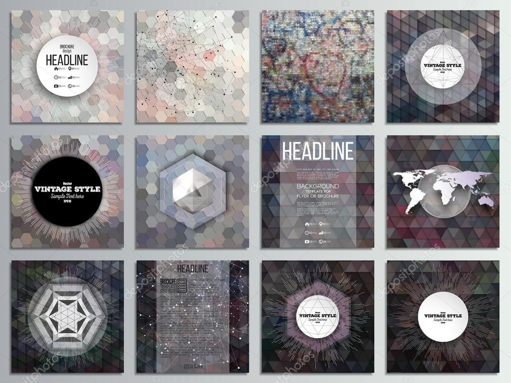 Set of 12 creative cards square brochure template design graffiti set of 12 creative cards square brochure template design graffiti wall abstract multicolored maxwellsz