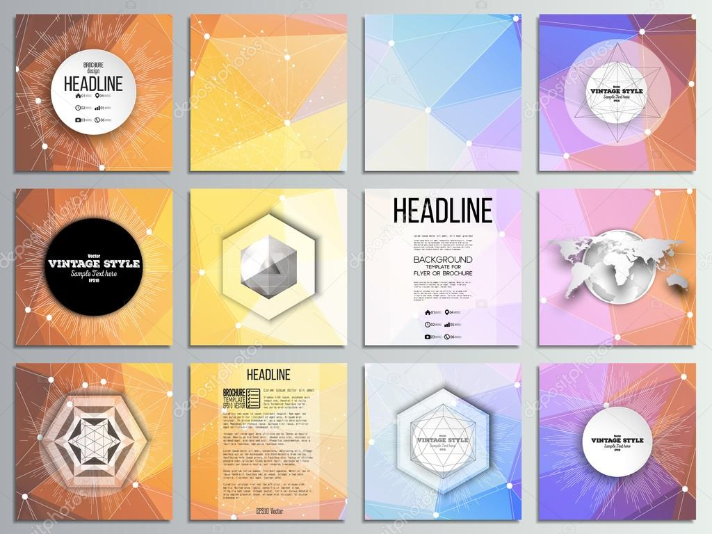 Set von 12 kreative Karten, quadratische Broschüre Template-Design ...