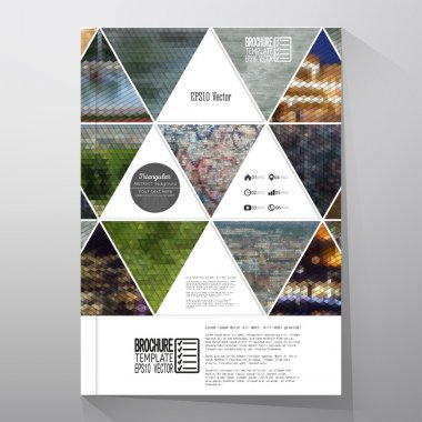 Business templates for brochure, flyer or booklet. Abstract multicolored background of nature landscapes, geometric vector, triangular style illustration