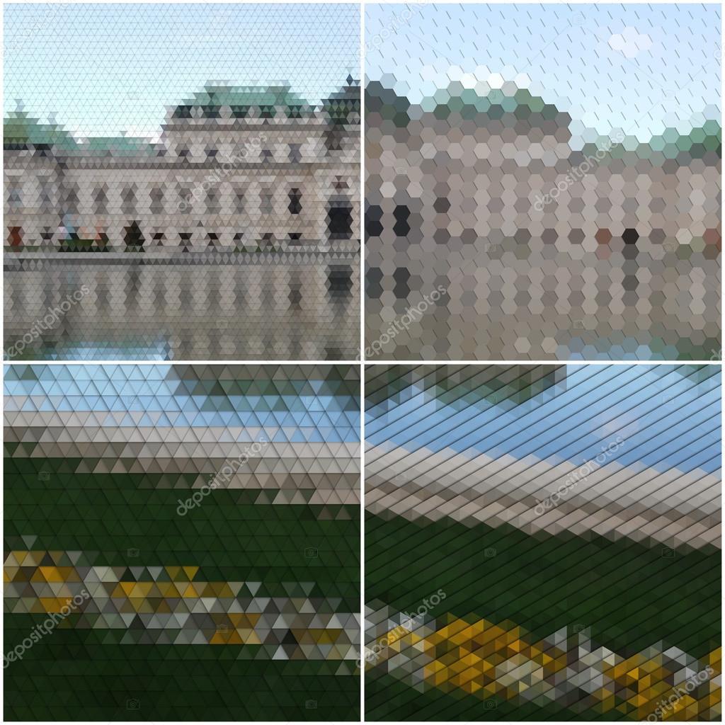 Hinterhof Landschaft. Sammlung Von Mehrfarbigen Abstrakt. Natürliche  Geometrische Muster. Dreieckige Und Hexagonal